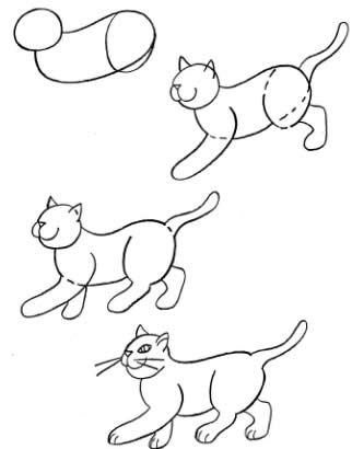 How to draw cats in movement